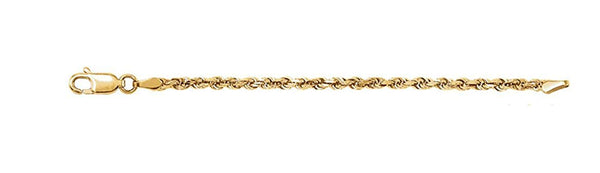 14k Yellow Gold 2.5mm Diamond-Cut Rope Chain Bracelet, 7""