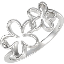 Womens 14k White Gold Double Flower Ring, Size 7