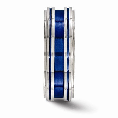 Anodized Collection Gray and Blue Titnaium 8mm Comfort-Fit Band
