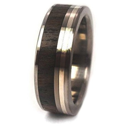Ziricote Wood, Sterling Silver Inlay 7mm Comfort Fit Titanium Band, Size 10