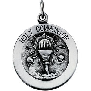"Sterling Silver Round Holy Communion Medal with Chain Necklace, 18"" (18x18 MM)"