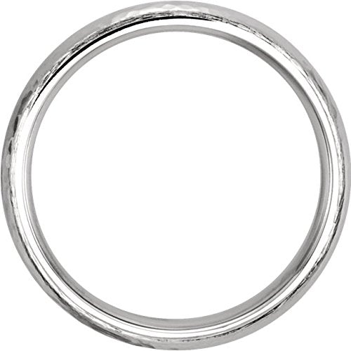 14k White Gold Hammer Finished 5mm Comfort Fit Dome Band, Size9