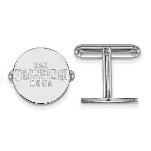 Rhodium-Plated Sterling Silver University Of San Francisco Round Cuff Links,16MM