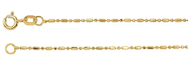 1.25mm 14k Yellow Gold Alternating Diamond-Cut Bead Chain, 18""