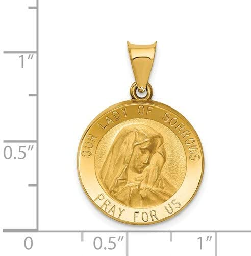 14k Yellow Gold Our Lady of Sorrows Medal Pendant (21X19MM)