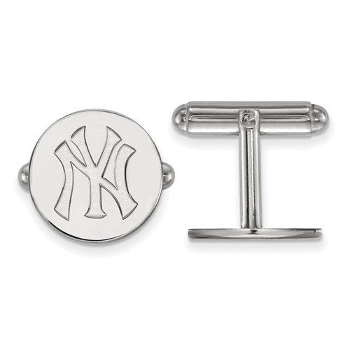 Rhodium-Plated Sterling Silver MLB New York Yankees Round Cuff Links, 15MM