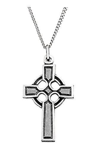 "Celtic Halo Cross Sterling Silver Necklace, 18"" (34.5x20 MM)"