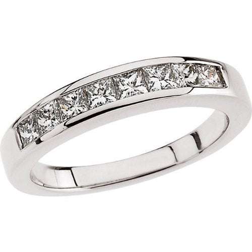 Eight Stone Princess Cut Diamonds 18k White Gold Band, Size 6 (.75 Cttw, GH Color, SI2-SI3 Clarity)
