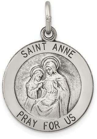 Sterling Silver Antiqued Saint Anne Medal (25X20MM)