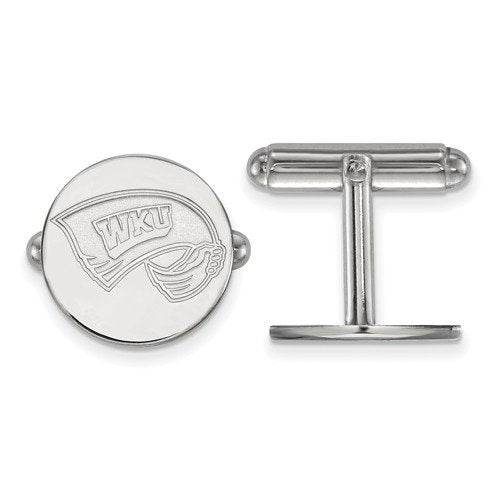 Rhodium-Plated Sterling Silver, Western Kentucky University, Round Cuff Links, 15MM