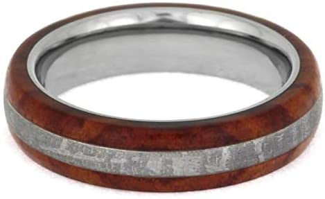 His and Hers Gibeon Meteorite, Tulipwood 5mm Comfort-Fit Titanium Band Sizes M10-F8