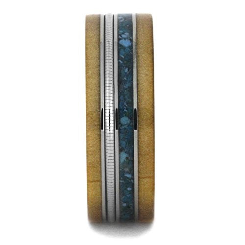 Crushed Turquoise, Rowan Wood, Cello String, 8mm Titanium Comfort-Fit Wedding Band