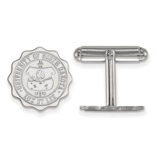 Rhodium-Plated Sterling Silver, University of North Dakota Crest, Cuff Links, 15MM