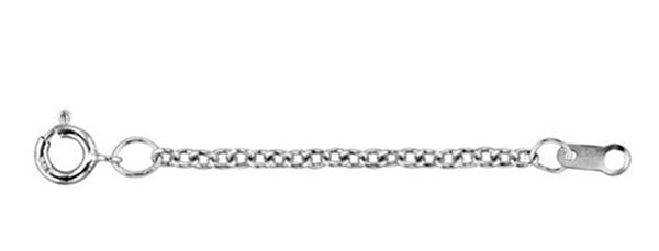 1.50mm Sterling Silver Solid Cable Necklace Extender or Safety Chain, 2.25""