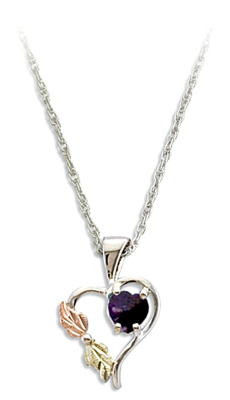 Purple CZ February Birthstone Heart Pendant Necklace, Sterling Silver, 12k Green and Rose Gold Black Hills Gold Motif, 18""
