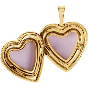 Infinity Cross and Roses 14k Yellow Gold Heart Locket Pendant (15.75X15.75 MM)