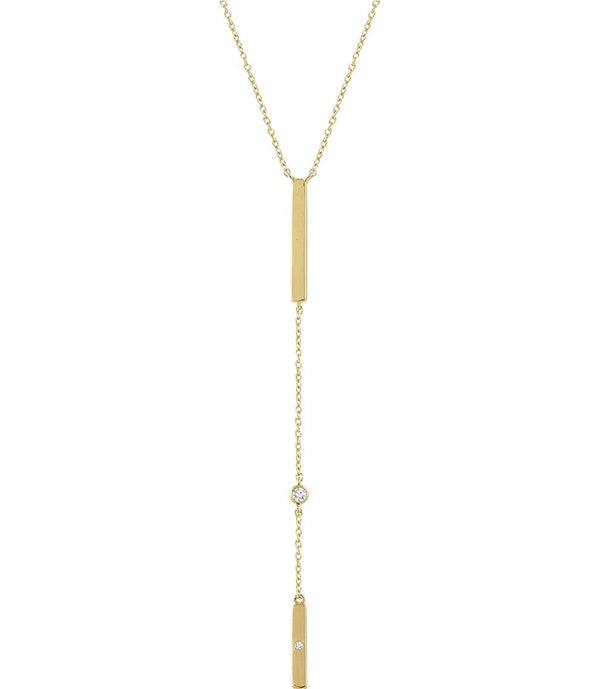"Diamond Bar Y Necklace in Rhodium-Plated 14k Yellow Gold, 16-18"" ( .06 Ctw, Color H+, Clarity I1)"