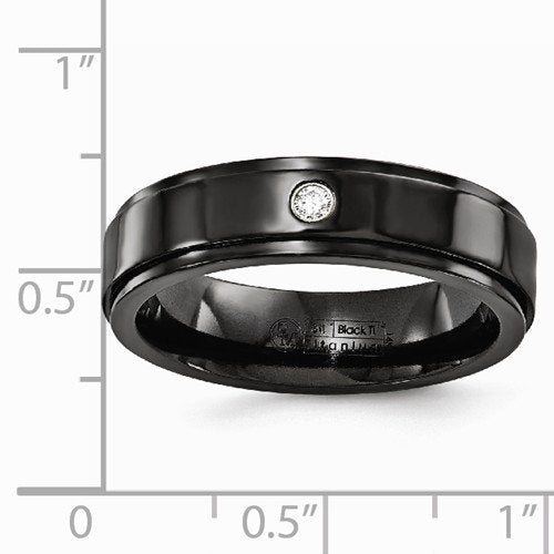 Diamond Collection in Black Titanium 6MM Flat Band (.03 Ct, G-I, I1)