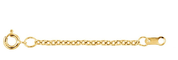 1.5mm 14k Yellow Gold Solid Cable Necklace Extender or Safety Chain, 3""