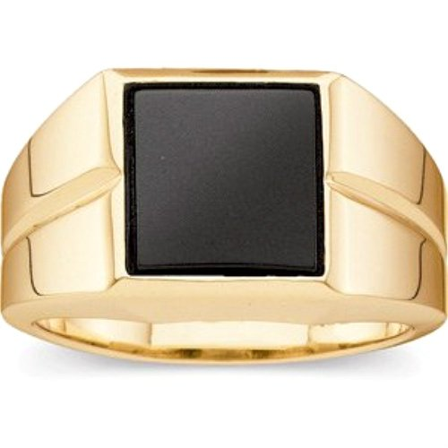 Men's Buff Top Onyx 10.5mm Ring, 14k Yellow Gold