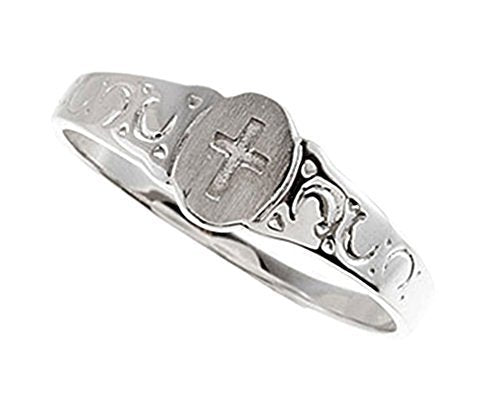 Boy's and Girl's Cross Signet Ring, Rhodium Plate 14k White Gold 5x4mm, Size 3.25