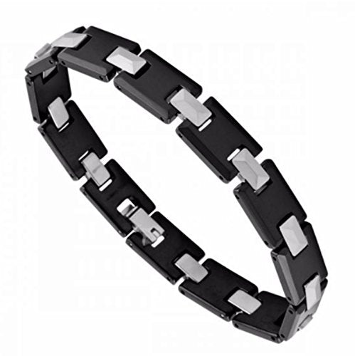 Men's Rectangle Links Bracelet, Black Ceramic with Tungsten, 8.5""