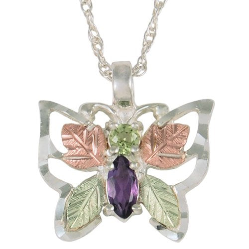 Peridot and Amethyst Butterfly Necklace, Sterling Silver, 12k Green and Rose Gold Black Hills Gold Motif, 18''