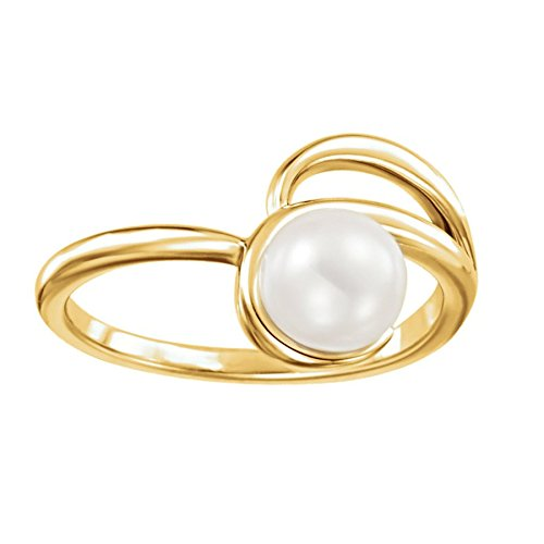 White Freshwater Cultured Pearl Bypass Ring, 14k Yellow Gold (6.5-7.00mm) Size 7