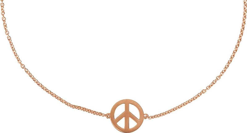 Petite Peace Sign Bracelet, 14k Rose Gold, 5.75 - 6.75""