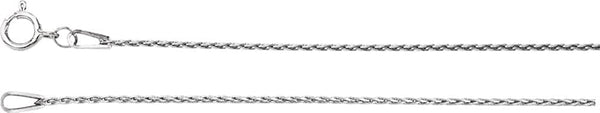 .85mm 14k White Gold Baby Wheat Chain, 16""