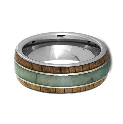 Chrysocolla, Oak Wood 8mm Comfort-Fit Titanium Wedding Band, Size 9.5