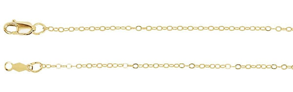 1.2mm 14k Yellow Gold Cable Chain Bracelet, 7""