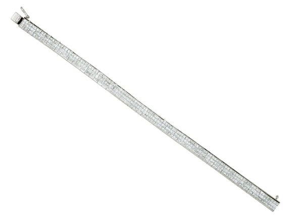 "Princess-Cut Diamond 3-Row Tennis Bracelet, 14k White Gold, 7.25"" (8 3/8 Cttw, GH Color, I1 Clarity)"