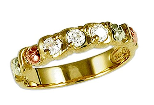 Women's Diamond 10k Yellow Gold, 12k Pink Gold, 12k Green Gold Black Hills Gold Motif Ring (.15 Ctw, HJ, I1)