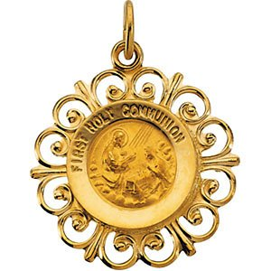 14k Yellow Gold First Holy Communion Medal (20x18.5 MM)