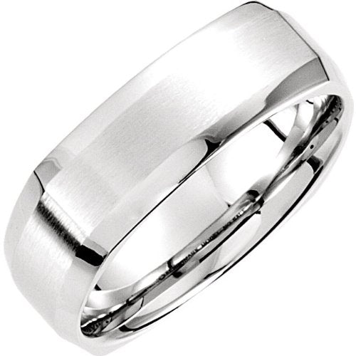 7.5mm 14k White Gold Fancy Carved Band Sizes 4 to 14