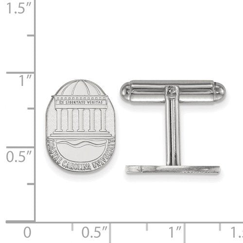 Rhodium-Plated Sterling Silver Coastal Carolina University Crest Cuff Links, 16X11MM