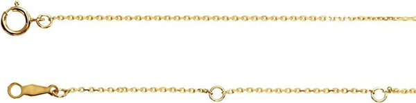 1 mm 14k Yellow Gold Diamond Cut Cable Chain, 16-18""