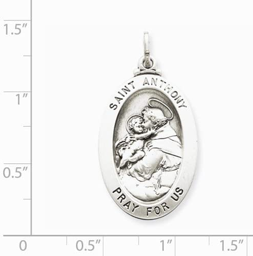 Sterling Silver Antiqued Saint Anthony Medal (35x20MM)
