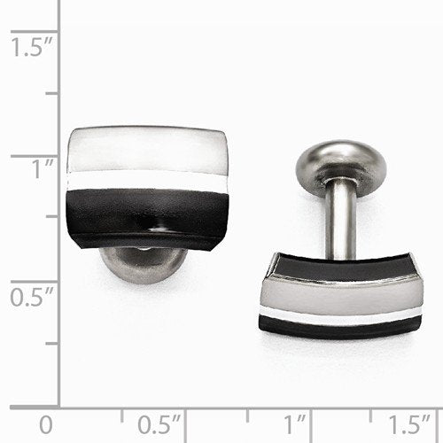 Tuxedo Collection Brushed and Polished Black Titanium and Sterling Silver Cuff Links, 12X16MM