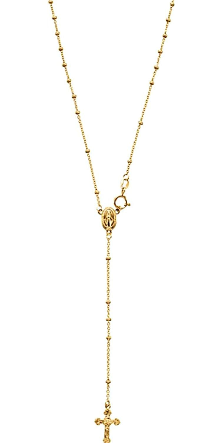 14k Yellow Gold Rosary Necklace, INRI Crucifix