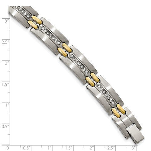 Men's Brushed and Polished Stainless Steel Yellow Gold IP CZ Link Bracelet, 8.75""