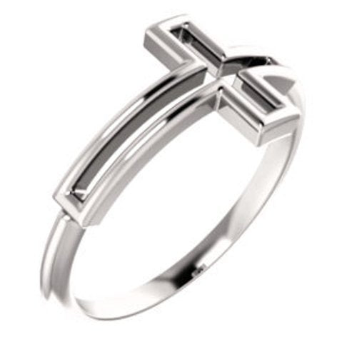 Embossed Cross Sterling Silver Ring