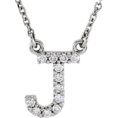 Diamond Initial 'J' Rhodium Plate 14K White Gold (1/8 Cttw, GH Color, I1 Clarity), 16.25""