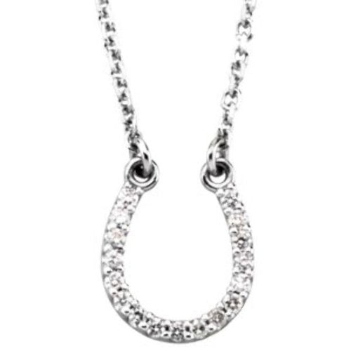 "Small 14k White Gold Diamond Horseshoe Necklace, 16"" (.08 Cttw., GH Color, I1 Clarity)"