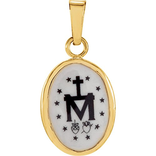 14k Yellow Gold Miraculous Hand-Painted Porcelain Medal (13x10 MM)