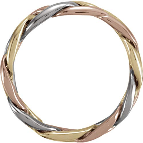 4.75mm 14k Yellow, White and Rose Gold Tri-Color Hand Woven Band, Sizes 5 to 12.5