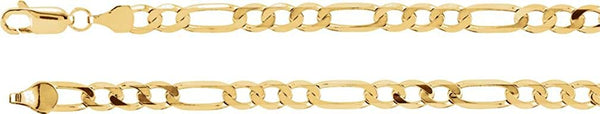 5mm 14k Yellow Gold Figaro Chain Bracelet, 7""