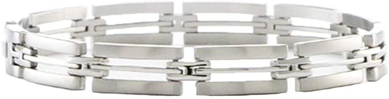 Men's Brushed and Polished Stainless Steel 8mm link Bracelet, 8.75 Inches