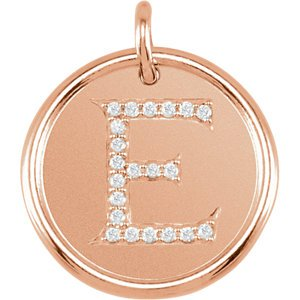 "Diamond Initial ""E"" Pendant, 14k Rose Gold (0.1 Ctw, Color GH, Clarity I1)"
